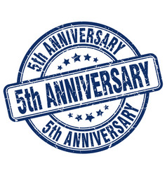 5th anniversary blue grunge stamp vector