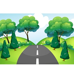 A road passing through the hills vector