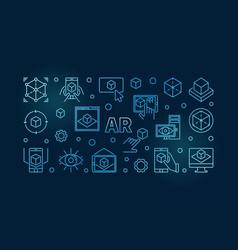 ar blue horizontal linear or vector image