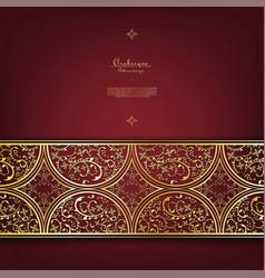 Arabesque thai element gold flower background vector