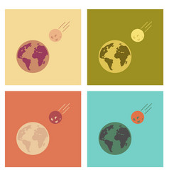 Assembly flat icons nature meteorite earth vector