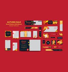 Autumn social media and web banner design template vector