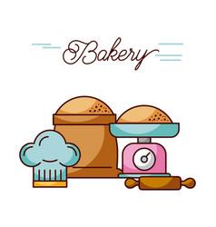 bakery weight scale and sack flour rolling pin and vector image
