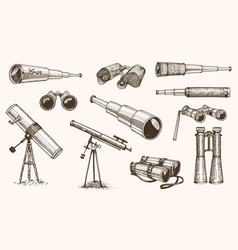 binoculars or field glasses military set vintage vector image