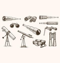 Binoculars or field glasses military set vintage vector