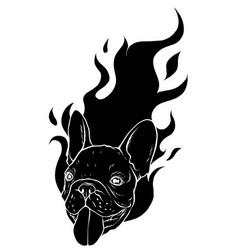 Black silhouette carlino head dog flame tattoo vector
