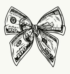 Bow tie dollar bills concept vector