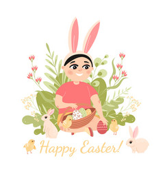 boy sitting surrounded rabbits and chickens vector image