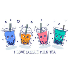 bubble tea plastic cup with cute emotions smile vector image