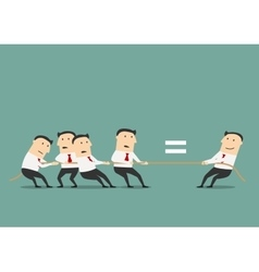 Businessman competing with group of businessmen vector image