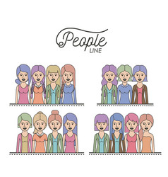 caricature half body women people line with vector image