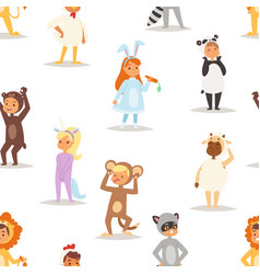 children kids animal costumes characters vector image