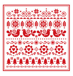 Christmas folk art greeting card vector