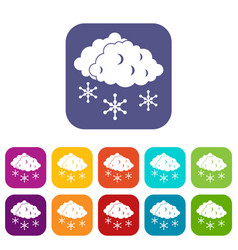 clouds and snow icons set vector image