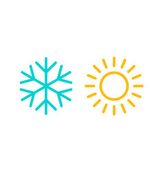 Cold and hot snowflake and sun icons isolated vector
