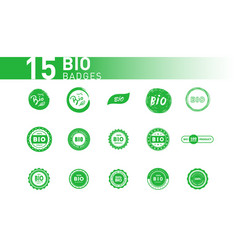 collection bio badghes design element vector image