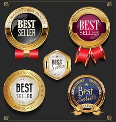 collection of elegant golden premium best seller vector image