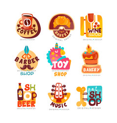 Collection of various shops logo templates set vector