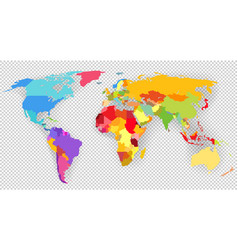 color world map isolated on transparent background vector image