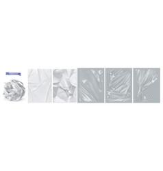 crumpled paper white paper transparent plastic vector image