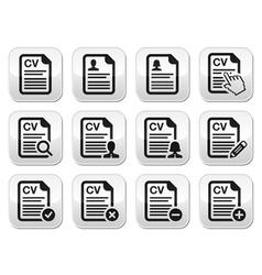 CV - Curriculum vitae resume buttons set vector image
