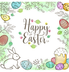 decorative easter greeting card vector image