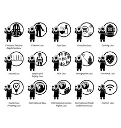 Different type laws icons depict field vector