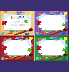 Diploma and frame template with crayons and vector