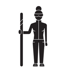 downhill skier black concept icon downhill vector image