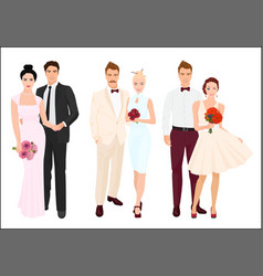 elegant wedding couples bride and groom set vector image