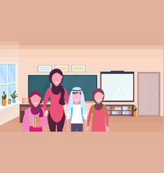 Female teacher with arab pupils in hijab standing vector