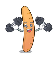 Fitness baguette character cartoon style vector