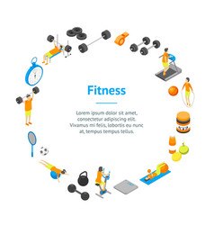 fitness club concept banner card circle 3d vector image