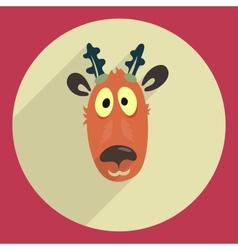 Flat design cartoon head of a deer Icon Greeting vector image