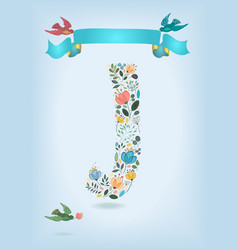 floral letter j with blue ribbon and three doves vector image