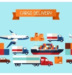 Freight cargo transport icons seamless pattern vector