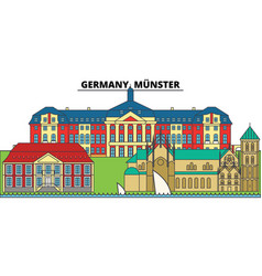 germany munster city skyline architecture vector image