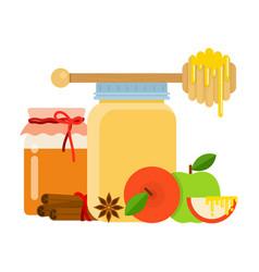glass jars with honey honey spoon cinnamon anise vector image