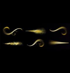 gold magic spray fairy glitter dust golden trace vector image