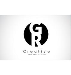 Gr letter logo design inside a black circle vector