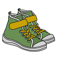 Green childrens sneakers vector