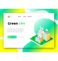 Green city eco friendly web app landing page vector