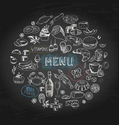 hand drawn cafe menu round concept vector image