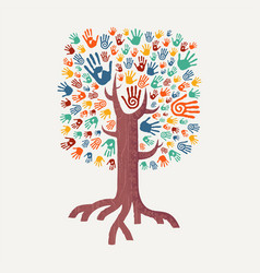 Hand drawn handprint tree for community help vector
