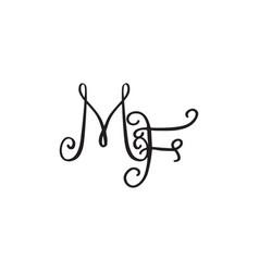 Handwritten monogram mf icon vector
