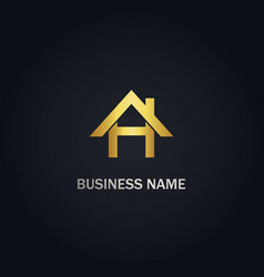 home h initial gold logo vector image