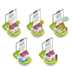 Home insurance cover set flat vector