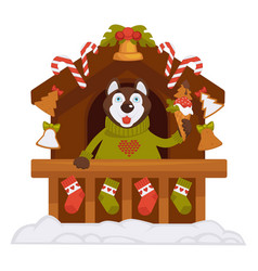 Husky dog in warm sweater stands with ice cream vector