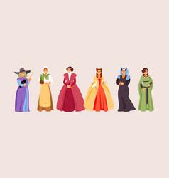 medieval women vector image