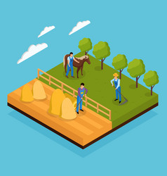 mixed farm isometric composition vector image